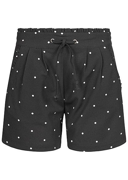JDY by ONLY Damen Paper-Bag Shorts Dots Print 2-Pockets schwarz weiss