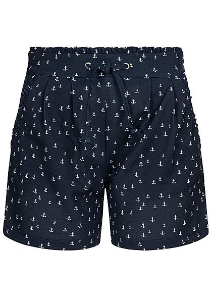 JDY by ONLY Damen Paper-Bag Shorts Anchor Print 2-Pockets sky captain blau weiss