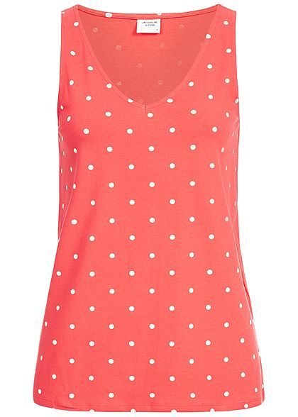 JDY by ONLY Damen Tank Top Dots Print cayenne rot weiss