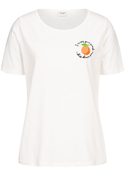 JDY by ONLY Damen T-Shirt Orange Patch cloud danc. weiss