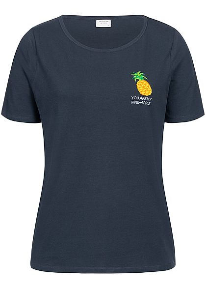 JDY by ONLY Damen T-Shirt Pineapple Patch sky capt. blau