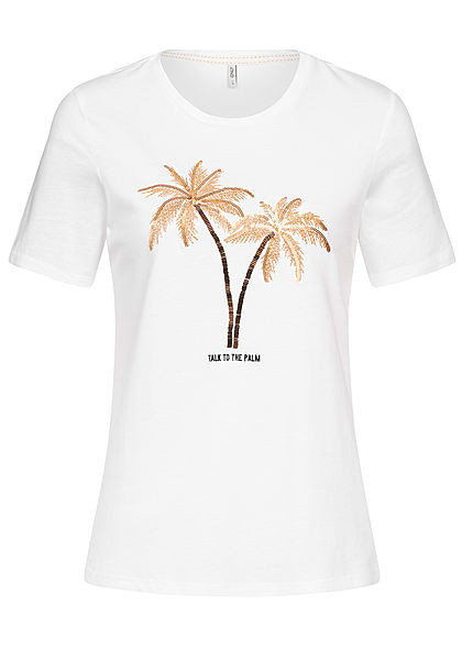 9ccf9f21d5ccf ONLY Damen T-Shirt Front Palm Embroidery bright weiss gold - 77onlineshop