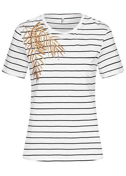 ONLY Damen T-Shirt Striped Palm Print bright weiss gold schwarz