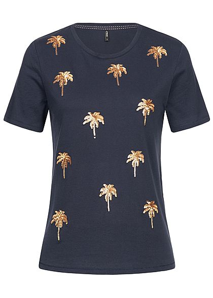 ONLY Damen T-Shirt Palm Sequins night sky blau gold