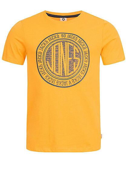 Jack and Jones Herren T-Shirt Frontprint gold fusion gelb