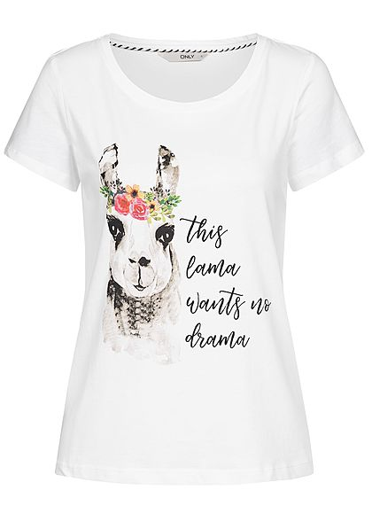 ONLY Damen T-Shirt Lama Print weiss multicolor