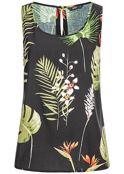 ONLY Damen Blouse Top Tropical Print schwarz grün