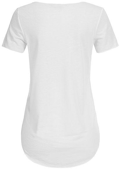 Vero Moda Damen Asymmetric T-Shirt snow weiss
