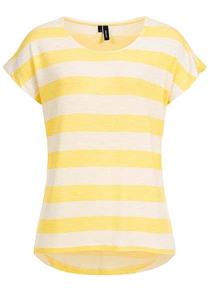 Vero Moda Damen Striped T-Shirt NOOS yarrow gelb