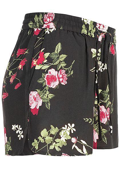 Vero Moda Damen Summer Shorts 2-Pockets Flower Print schwarz pink grün