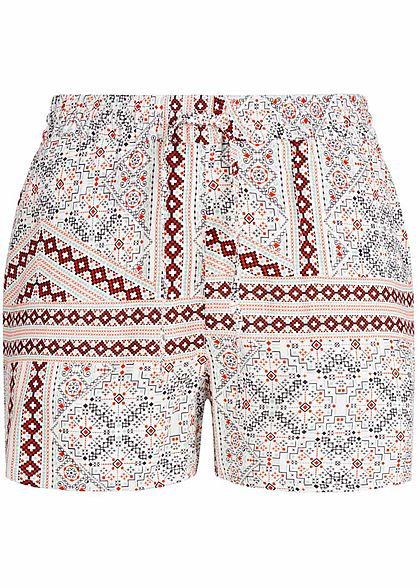 Vero Moda Damen Summer Shorts 2-Pockets Geometric Print snow weiss rot