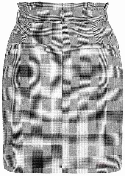 Vero Moda Damen Paper-Bag Checked Skirt Belt 2-Pockets NOOS grau schwarz weiss
