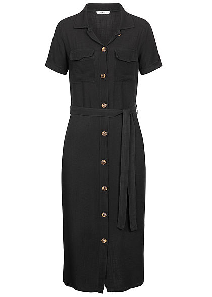 Hailys Damen Dress Buttons Front Belt schwarz