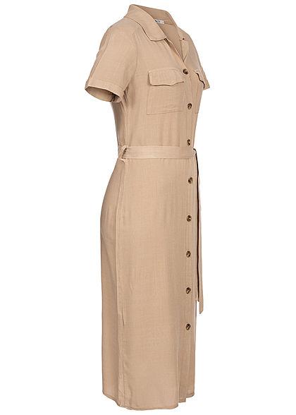 Hailys Damen Dress Buttons Front Belt beige
