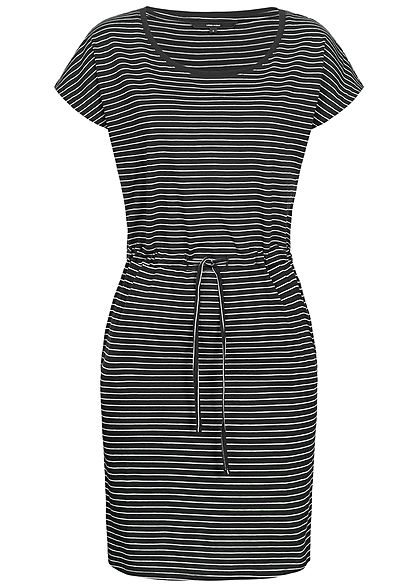Vero Moda Damen Striped Mini Dress 2-Pockets NOOS schwarz snow weiss
