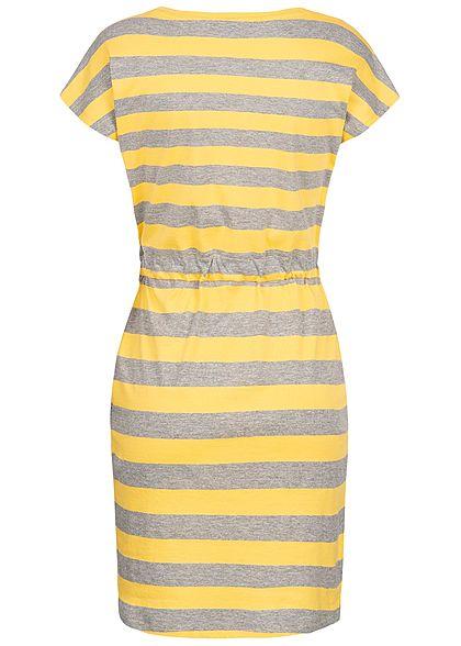 Vero Moda Damen Striped Mini Dress 2-Pockets NOOS yarrow gelb grau