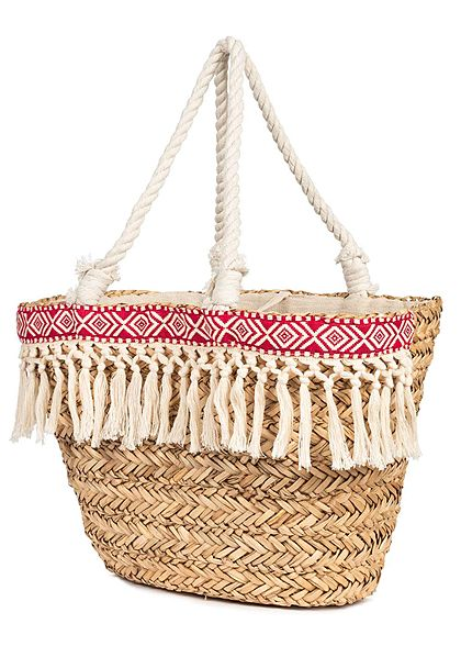 Styleboom Fashion Damen Basket Shopper Bag Fray rot beige