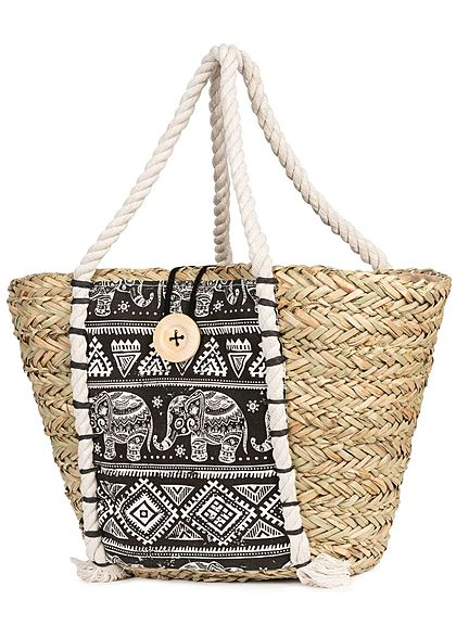 Styleboom Fashion Damen Basket Shopper Bag Elephant Print schwarz beige