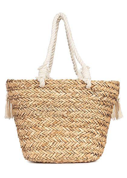 Styleboom Fashion Damen Basket Shopper Bag Elephant Print navy blau beige