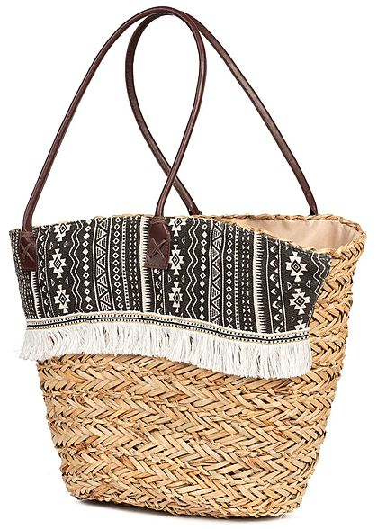 Styleboom Fashion Damen Basket Shopper Bag Fray schwarz beige