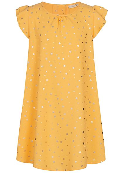 Name It Kids Mädchen Dress Points Print pale mariegold gelb gold