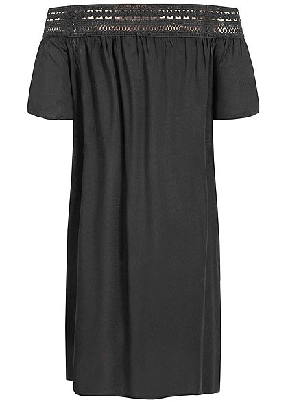 JDY by ONLY Damen Off-Shoulder Crochet Mini Dress schwarz