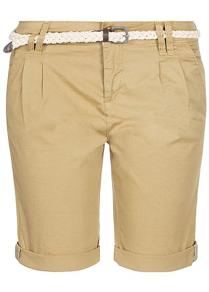 Eight2Nine Damen Chino Bermuda Shorts 5-Pockets inkl. Flechtgürtel natural beige