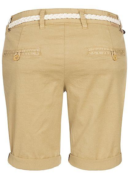 Eight2Nine Damen Chino Bermuda Shorts Belt 5-Pockets beige