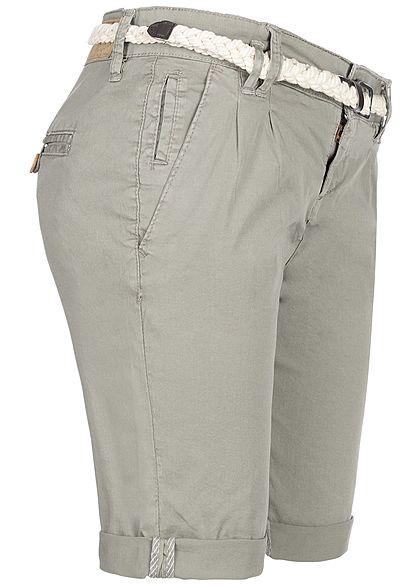 Eight2Nine Damen Chino Bermuda Shorts 5-Pockets inkl. Flechtgürtel mountain grau
