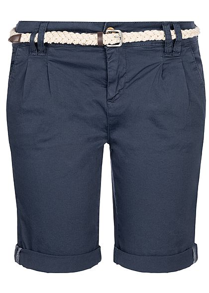 Eight2Nine Damen Chino Bermuda Shorts Belt 5-Pockets navy blau