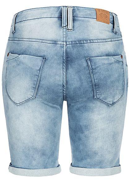 Eight2Nine Damen Denim Bermuda Shorts 5-Pockets Buttons Front hell blau denim