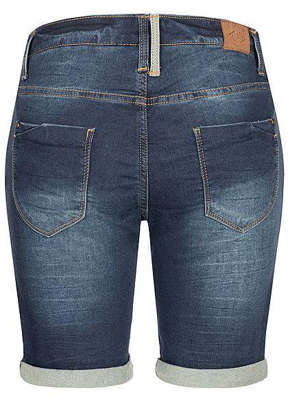 Eight2Nine Damen Denim Bermuda Shorts 5-Pockets Buttons Front dunkel blau denim