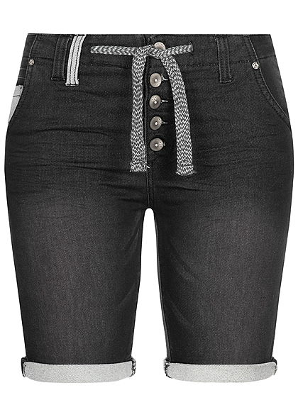 Detaillierung große sorten neue sorten Eight2Nine Damen Denim Bermuda Shorts 5-Pockets Buttons Front schwarz denim