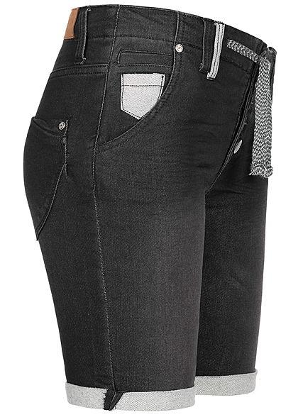 Eight2Nine Damen Denim Bermuda Shorts 5-Pockets Buttons Front schwarz denim