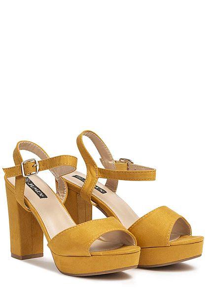 Seventyseven Lifestyle Damen Block Heel Sandals senf gelb