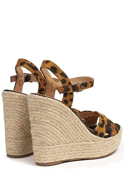 Seventyseven Lifestyle Damen Wedges Sandals Leo Print braun schwarz