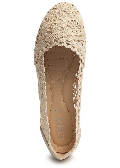 Seventyseven Lifestyle Damen Crochet Ballet Flats Shoes cream beige