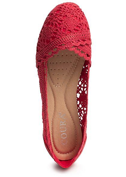 Seventyseven Lifestyle Damen Crochet Ballet Flats Shoes Rot