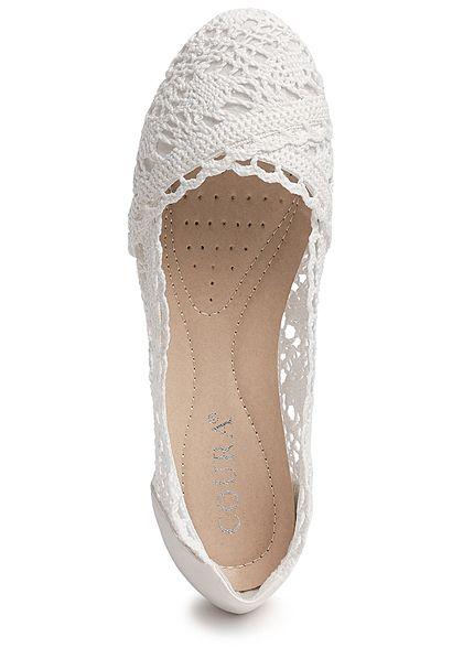 3cf8a55a1c284b Seventyseven Lifestyle Damen Crochet Ballet Flats Shoes weiss - 77onlineshop