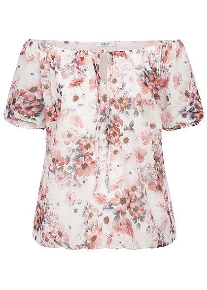 81c5bb591ac9a7 Hailys Damen Off-Shoulder Shirt Flower Print Bow off weiss rosa -  77onlineshop