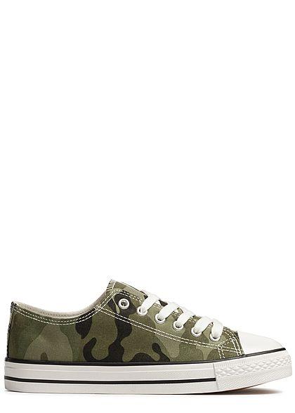 67c0aa7afedfb8 Seventyseven Lifestyle Damen Schuh Canvas-Sneaker camouflage - 77onlineshop