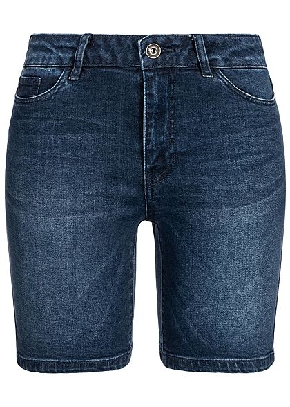ONLY Damen Denim Bermuda Shorts 5-Pockets Regular Waist dunkel blau denim