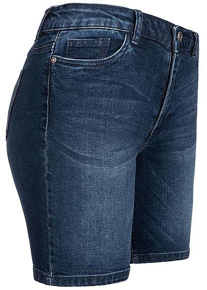ONLY Damen Denim Bermuda Shorts 5-Pockets Regular Waist dunkel blau denim