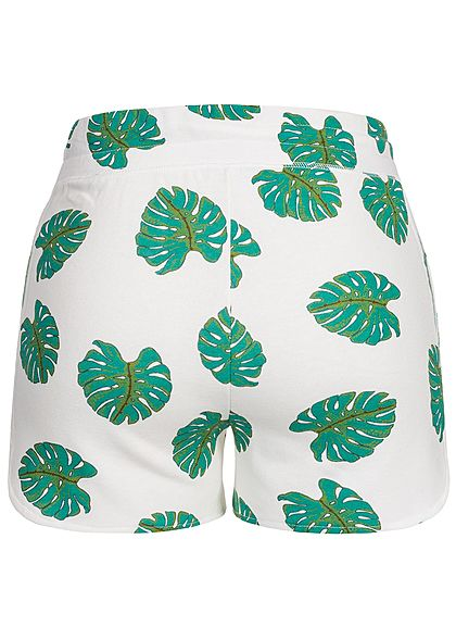 ONLY Damen Sweat Shorts Leaf Print 2-Pockets bright weiss grün