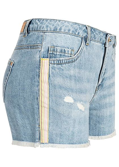 ONLY Damen Denim Shorts Frays Contrasting Stripes medium blau denim