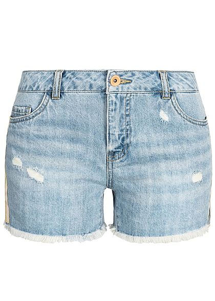 ONLY Damen Denim Shorts Frays Contrasting Stripes medium blau denim