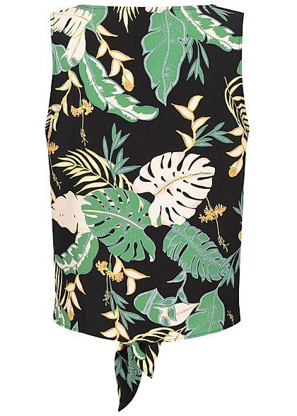 ONLY Damen Tie-Knot Top Leaf Print schwarz grün