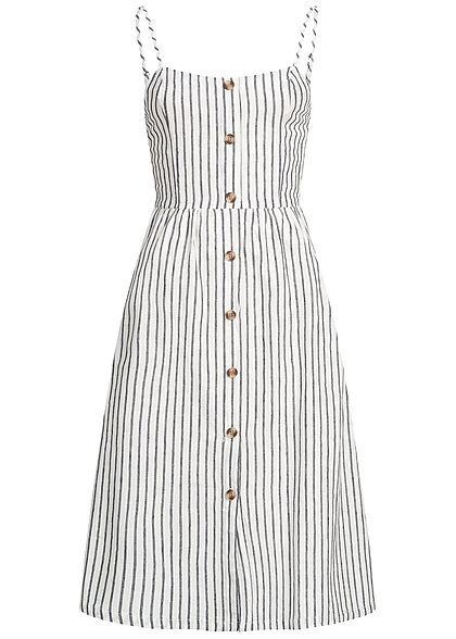 ONLY Damen Striped Denim Strap Dress Buttons Front weiss blau