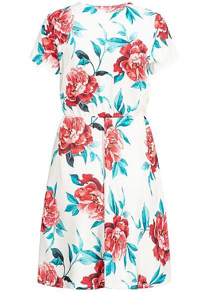 Hailys Damen Dress Flower Print off weiss rot