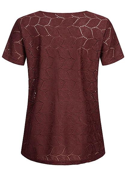 JDY by ONLY Damen T-Shirt Cut Out NOOS port royale bordeaux rot